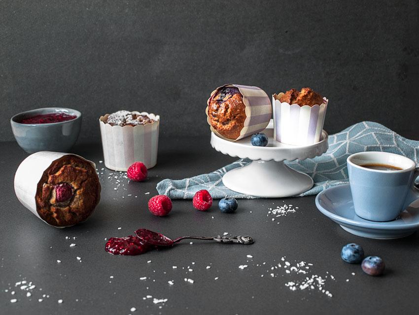 Glutenfreie Muffins Blaubeere und Himbeere