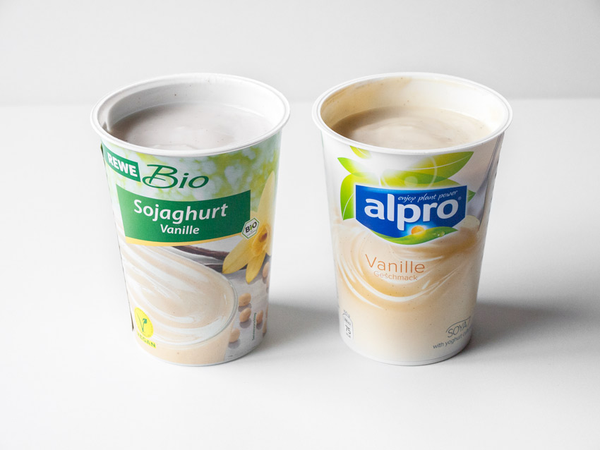 Sojajoghurt Vergleich Rewe Bio vs. Alpro