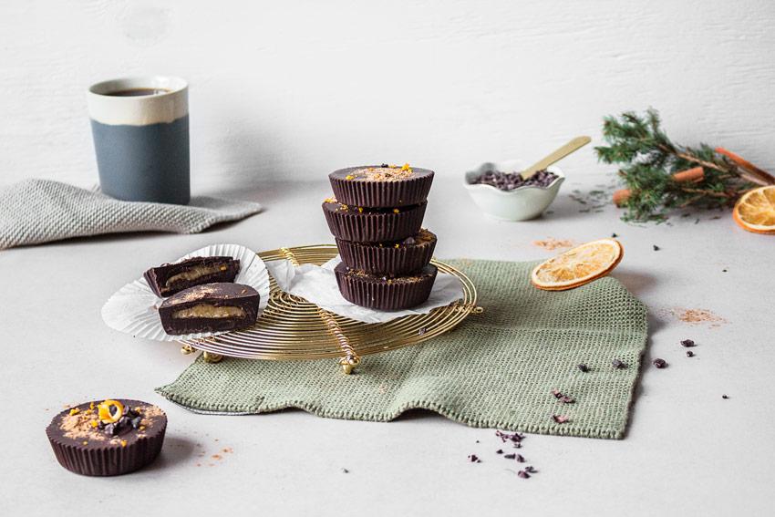 Schokoladen Marzipan Cups vegan