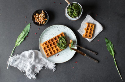 Glutenfreie und vegane Süßkartoffelwaffeln