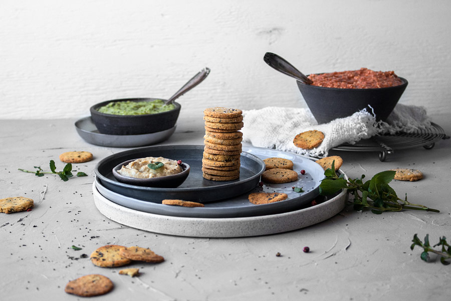 glutenfreie und vegane Kichererbsen-Cracker