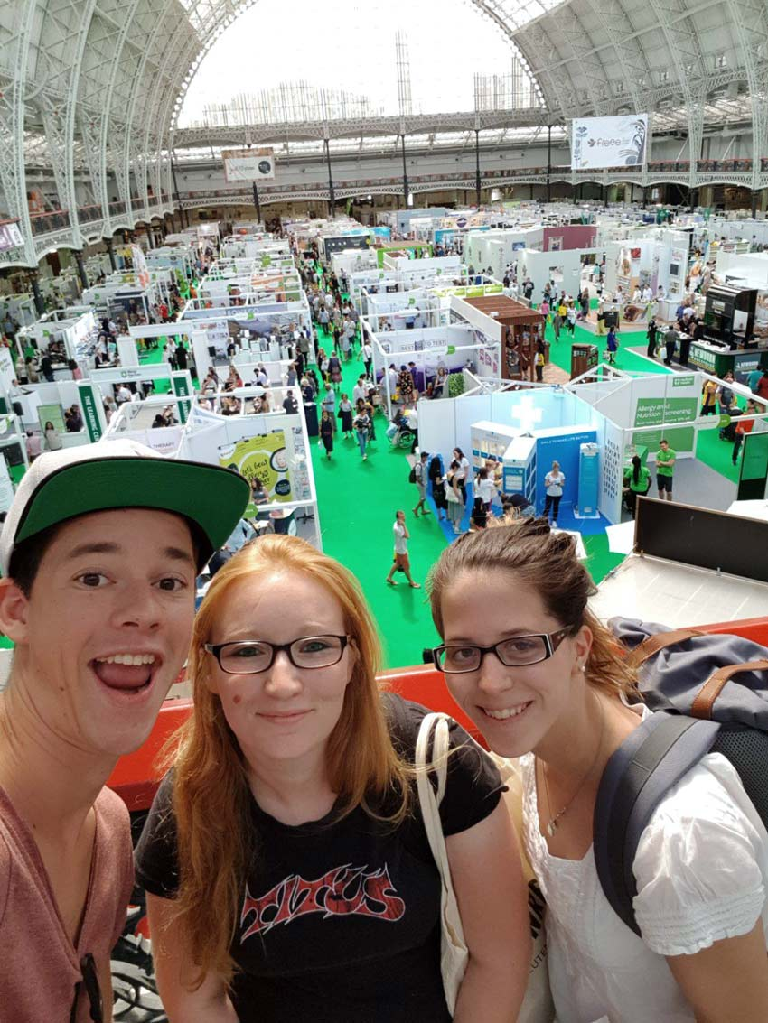 Silvan (glutenfreiewelt), Sarah (Zottenretter) und ich unterwegs auf der Allergyshow London