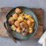 Reisbällchen mit Süßkartoffel Püree und Apfel-Maronen Chutney (glutenfrei und vegan)