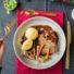 Linsenbraten mit Rotweinsoße, Kartoffelklößen und Wurzelgemüse / Hauptspeise Weihnachtsmenü 2019 (glutenfrei und vegan)