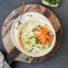 Käse-Lauch Suppe mit gebratenen Linsen zu Ostern (glutenfrei & vegan)